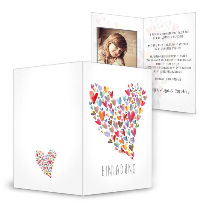 Einladung zu Konfirmation mit buntem Watercolor Herz