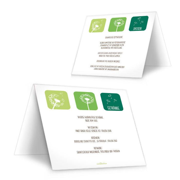 Menükarte zur Konfirmation in Grün mit Pusteblumen