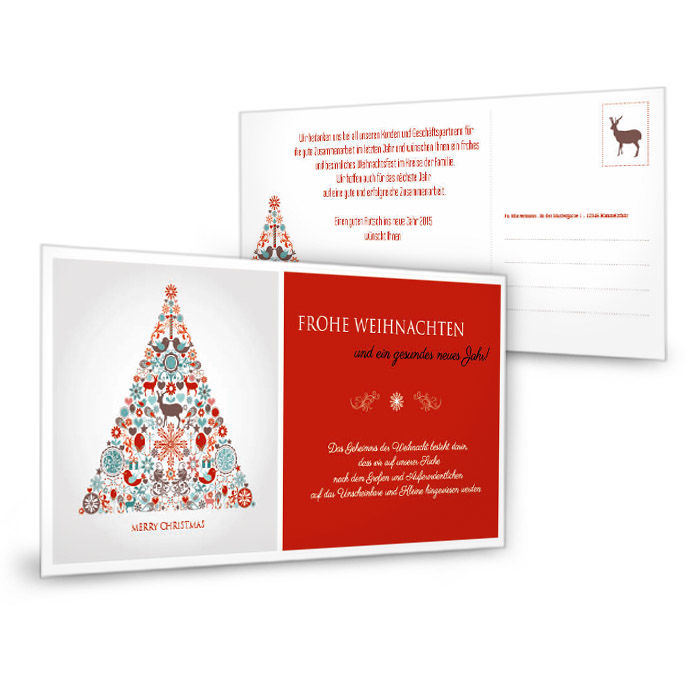 Weihnachtskarte mit modernem Weihnachtsbaum in Rot
