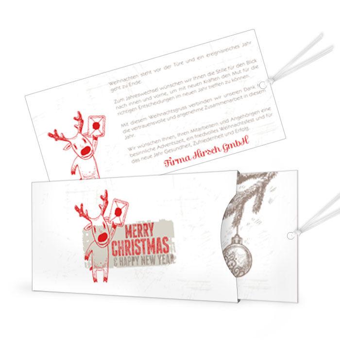 Weihnachtliche Einsteckkartemit süßem Hirsch in Rot und Grau