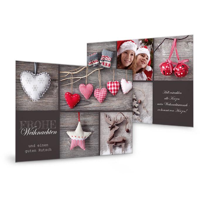 Weihnachts-Grußkarte mit genähten Herzen in Rot und Braun