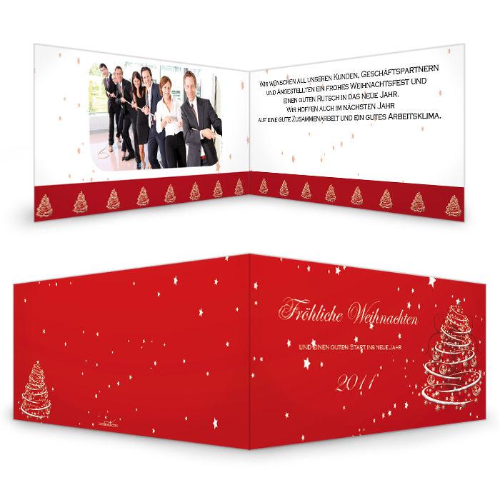 Rote Weihnachtskarte mit Tannenbaum für Firmengrüße