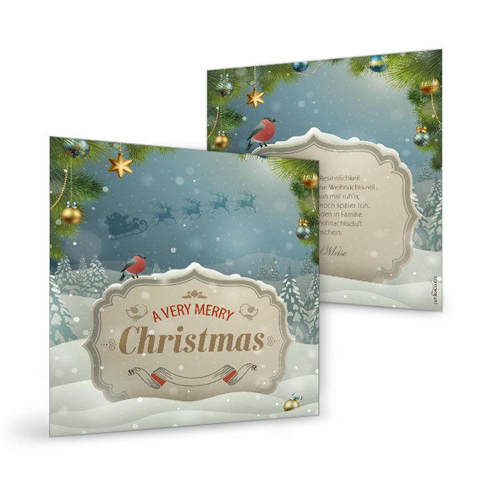 Romantische Retro-Weihnachtskarte mit verschneitem Wald