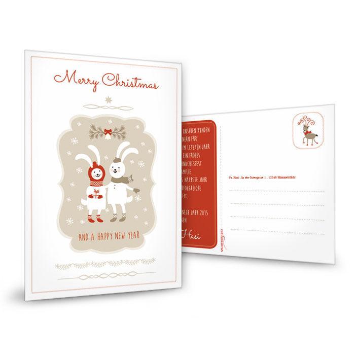 Weihnachtskarte mit Schneehasen in Rot und Weiß