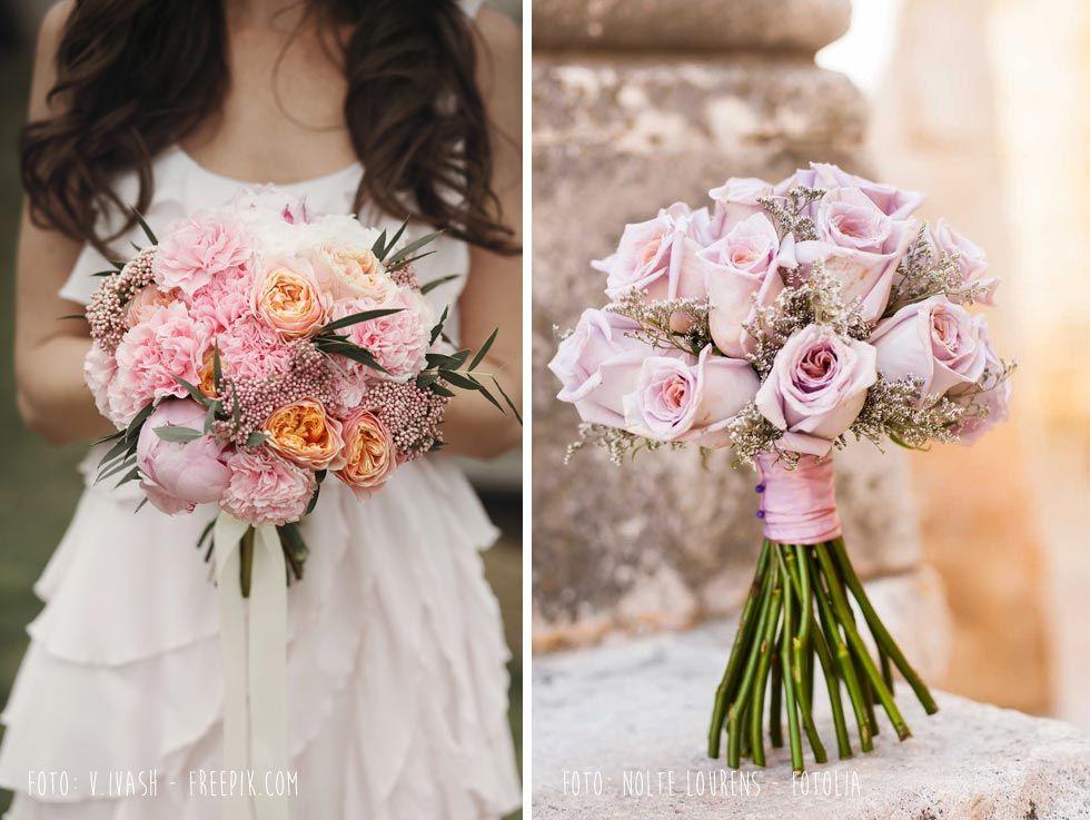 Brautstraußideen passend zum Farbkonzept - Foto links V Ivash - Freepik/Foto rechts Nolte Lourens - Fotolia