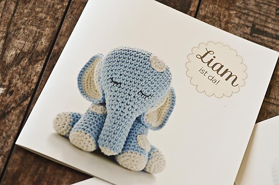 Dankeskarte zur Geburt mit niedlichem Elefanten