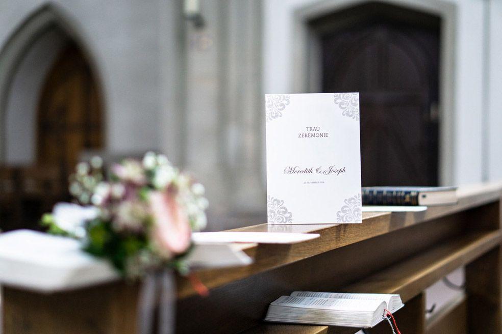 Elegante Kirchenhefte mit barockem Muster der Serie Meredith und Joseph - carinokarten