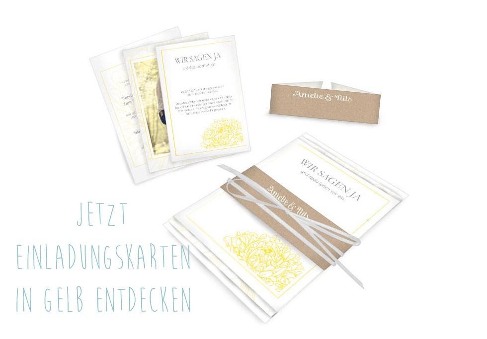 Florale Einladung zur Hochzeit in Gelb mit Kraftpapierstil-Elementen - carinokarten