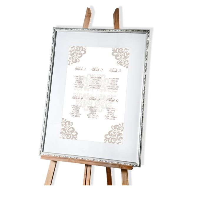 Großer Tischplan mit Sitzordnung zur Hochzeit mit barocken Ornamenten - carinokarten
