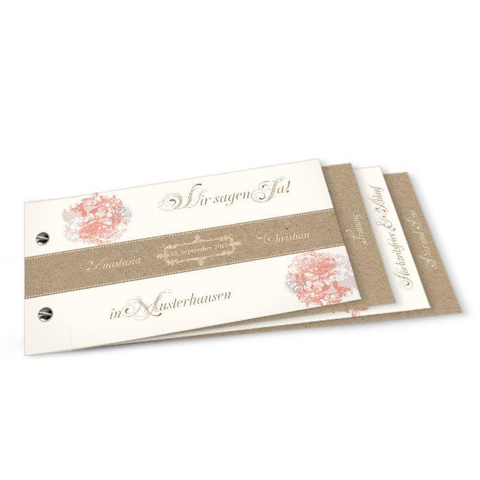 Romantische Vintage Einladung zur Hochzeit als Booklet mit Blüten und Kraftpapier-Optik - carinokarten