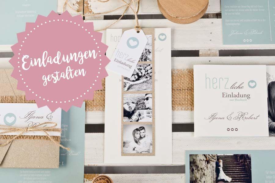Hochzeitseinladung Kartenset mit Anhänger und Fotostreifen - carinokarten