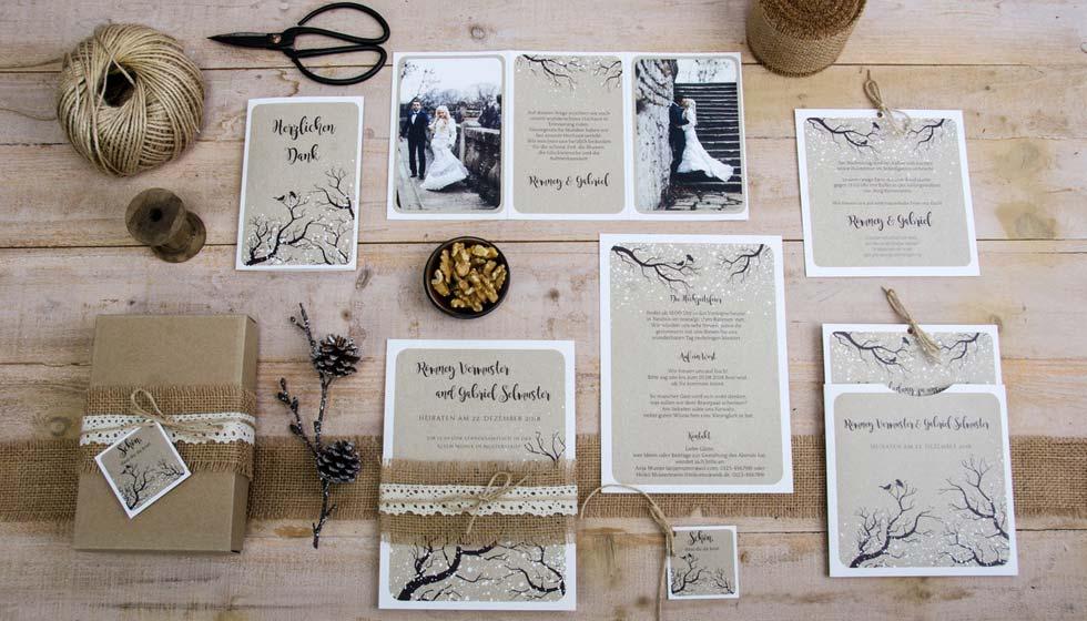 Hochzeitsserie Romney und Gabriel im winterlichen Design und Kraftpapieroptik carinokarten