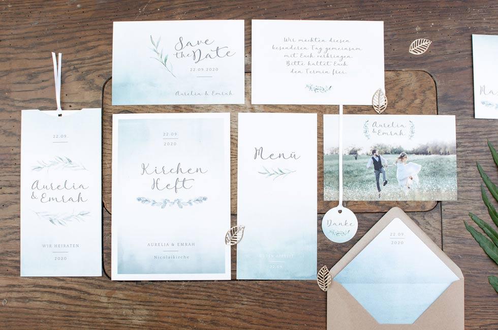 Hochzeitspapeterie im Greenery Stil mit Aquarell und Kalligraphie von The Little Wedding Corner und carinokarten1