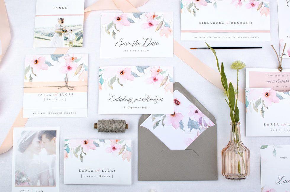 Hochzeitspapeterie mit romantischen Aquarell Blüten in Rosa von The Little Wedding Corner und carinokarten