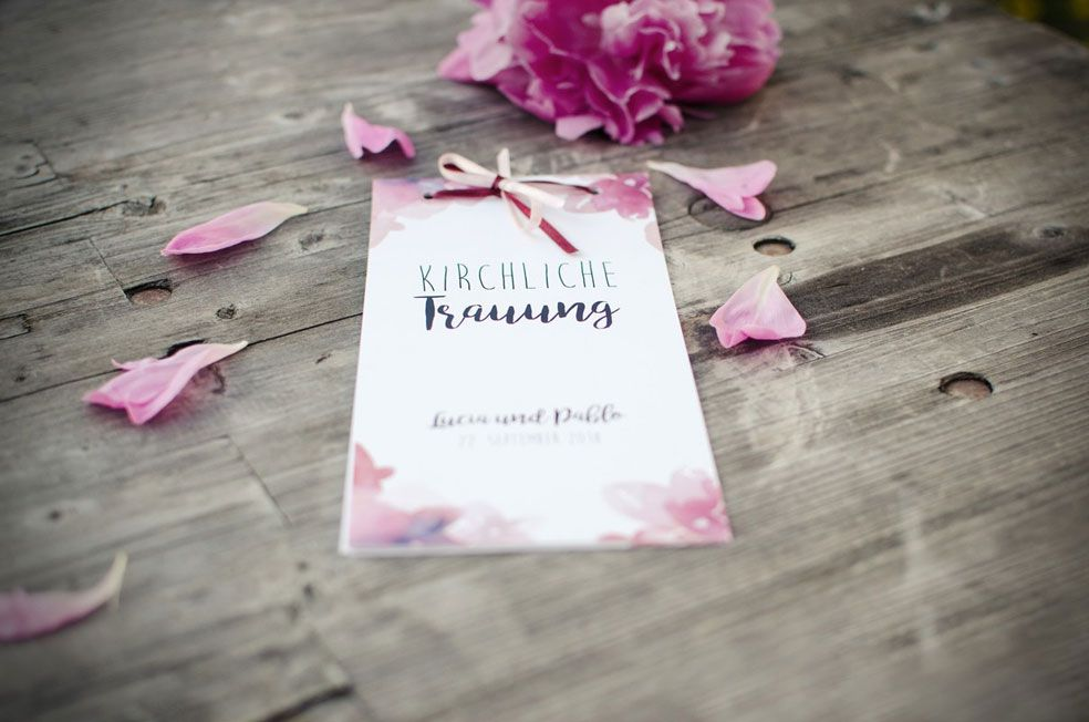 Kirchenhefte zur Hochzeit mit Aquarellblumen als-Booklet selbst gestalten carinokarten