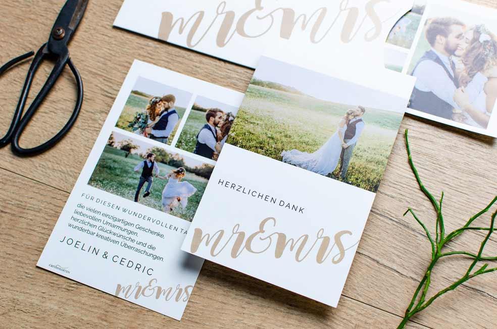 Moderne Danksgungen zur Hochzeit mit Mr and Mrs Schriftzug der Serie Joelin und Cedric von carinokarten