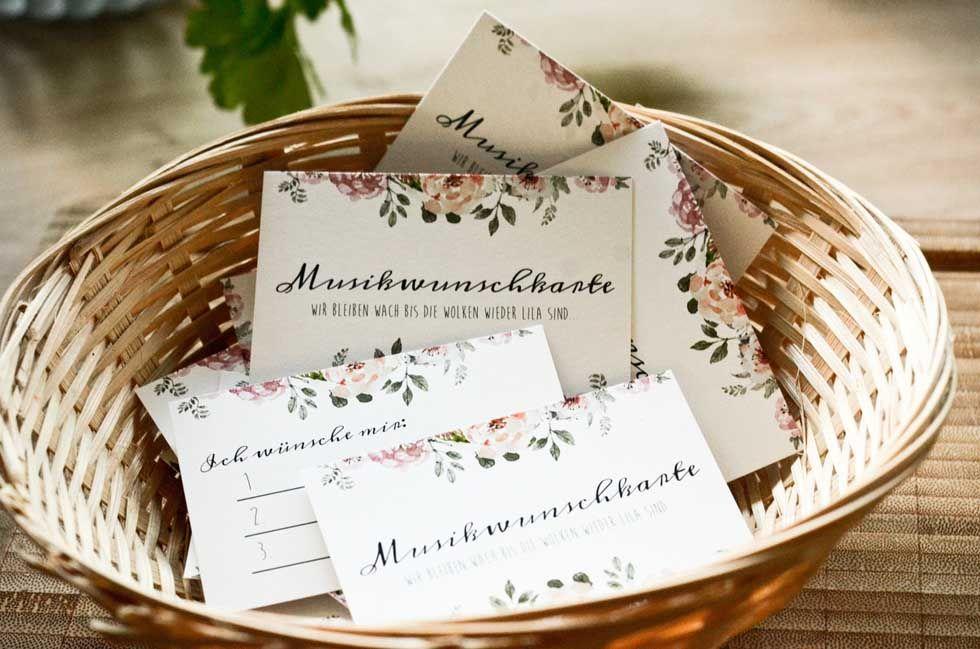Musikwunschkarten für die Hochzeitsfeier im Design der Hochzeitspapeterie - carinokarten