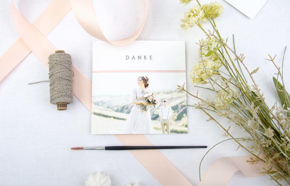 Romantische Danksagungen zur Hochzeit online selbst gestalten
