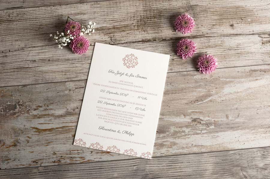 Romantische Hochzeitseinladung Florentina und Philipp Letterpress Praegedruck rosa - carinokarten