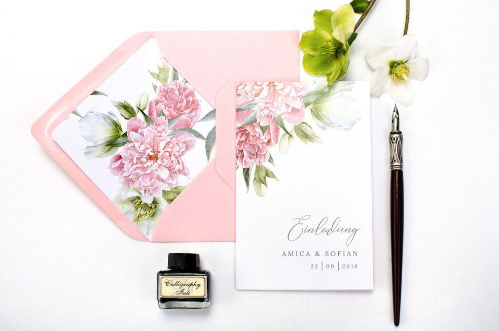 Romantische florale Hochzeitseinladung mit Pfingstrosen der Serie Amica und Sofian von carinokarten