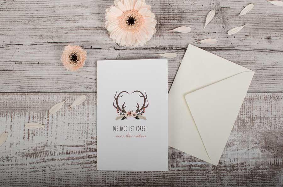 Einsteckkarte Rustikale Einladung Zur Hochzeit Als Klappkarte Leni Und  Benjamin   Carinokarten