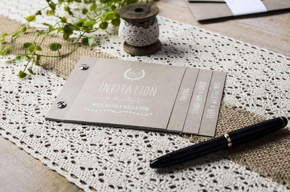 Einladungskarten Zur Hochzeit Als Booklet Gestalten Carinokarten