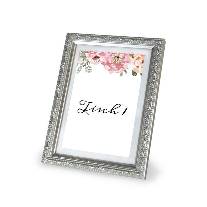 Tischnummern für Gruppentische zur Hochzeit mit floralem Rosen Design - carinokarten