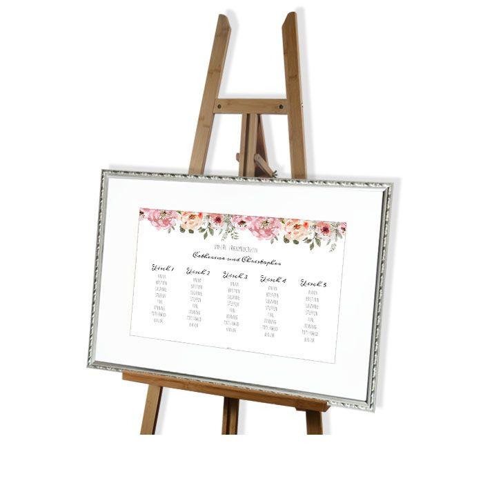 Tischplan für die Sitzordnung zur Hochzeit mit Vintage Rosen Design - carinokarten