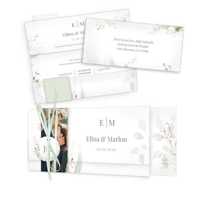 Botanical Hochzeitseinladung mit ZWeigen im Greenery Stil