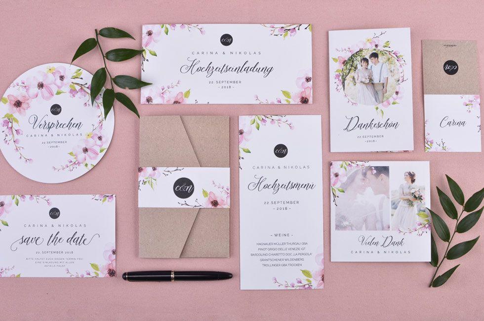 Individuelle Hochzeitseinladungen Im Kalligraphie Stil Carinokarten