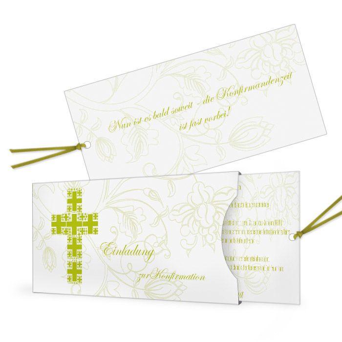 moderne Einladung zur Konfirmation mit Kreuz in Grün - carinokarten