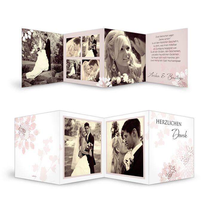 Danksagung zur Hochzeit als Leporello mit Platz für viele Fotos - carinokarten
