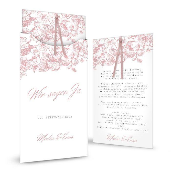 Romantische Einladung zur Hochzeit mit rosa Blüten und Kalligrafie - carinokarten