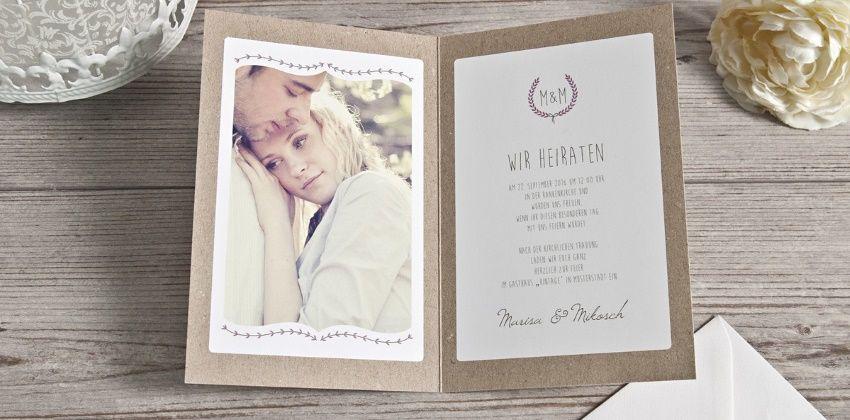 Hochzeitseinladungen Auf Kraftpapier Selbst Gestalten Carinokarten