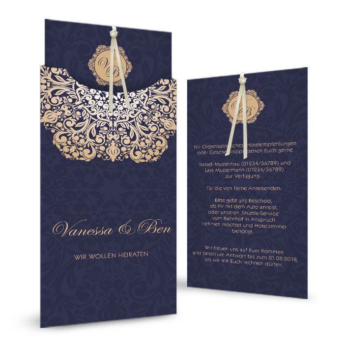 Edle Hochzeitseinladung in Dunkelblau mit goldenem Ornament - carinokarten