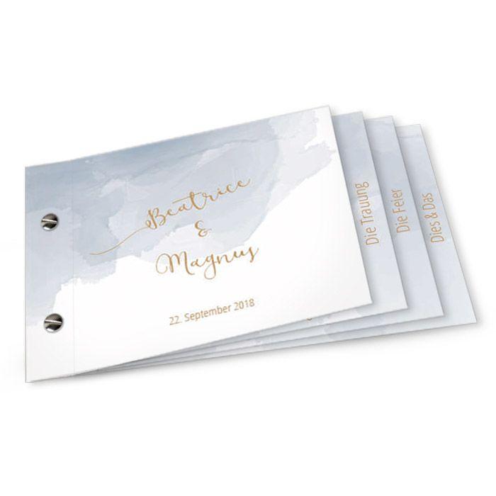 Einladung zur Hochezit als Booklet mit Buchschrauben im blauen Aquarell Stil - carinokarten