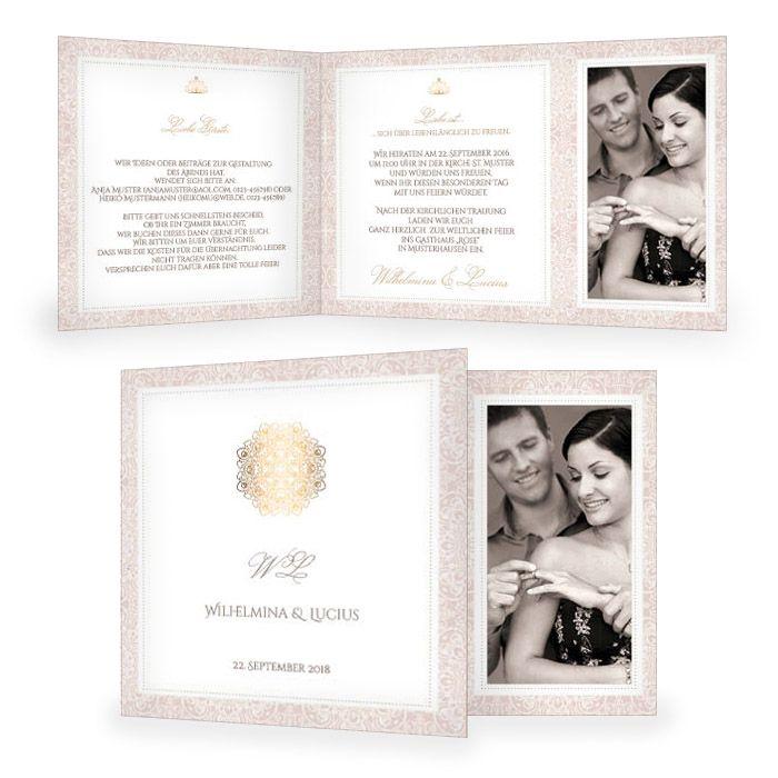 Elegante Einladung zur Hochzeit in Rosa mit goldenem Ornament - carinokarten