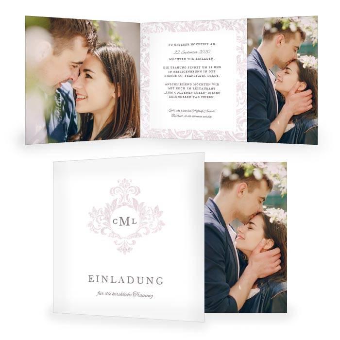 Elegante Hochzeitseinladung mit Monogramm und barockem Design