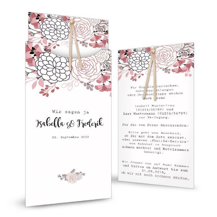 Moderne Einladung zur Hochzeit in Altrosa mit Blüten als Einsteckkarte - carinokarten
