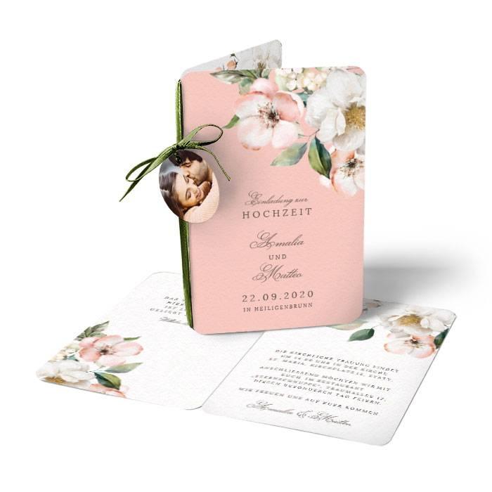 Florale Hochzeitseinladung mit Blumen im Aquarell Stil online selbst gestalten - carinokarten