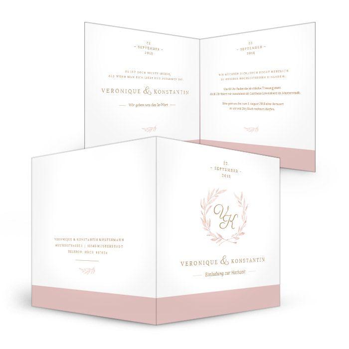 Elegante Einladung zur Hochzeit in Rosa mit Monogramm und Watercolor Blätterkranz - carinokarten