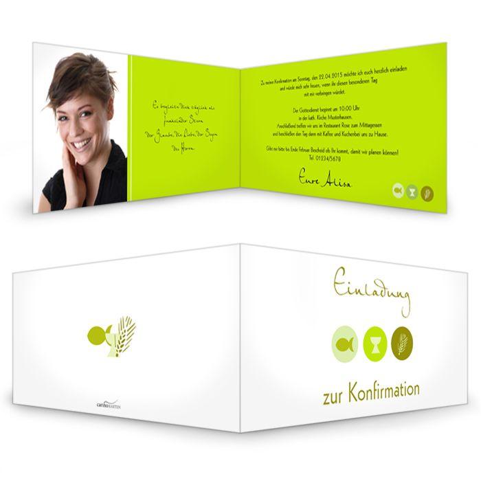 Klassische Einladungskarte zur Konfirmation mit christlichen Symbolen in Grün - carinokarten