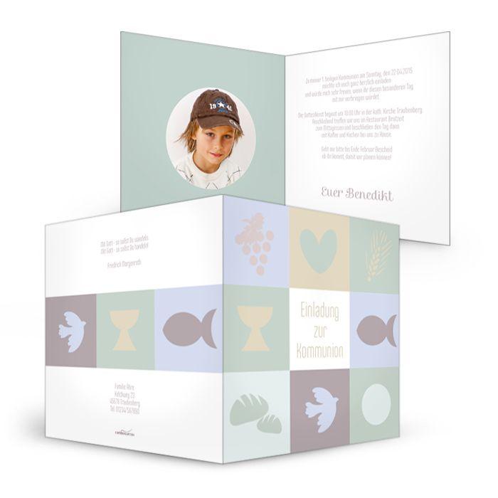 Moderne Einladungskarte Zur Kommunion Benedikt   Carinokarten