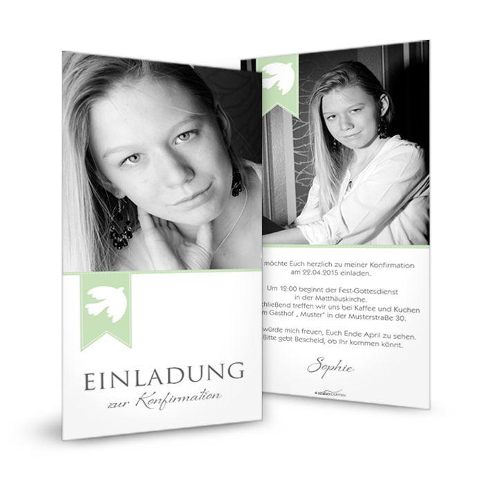 Moderne Einladungskarte Zur Konfirmation Sophie   Carinokarten