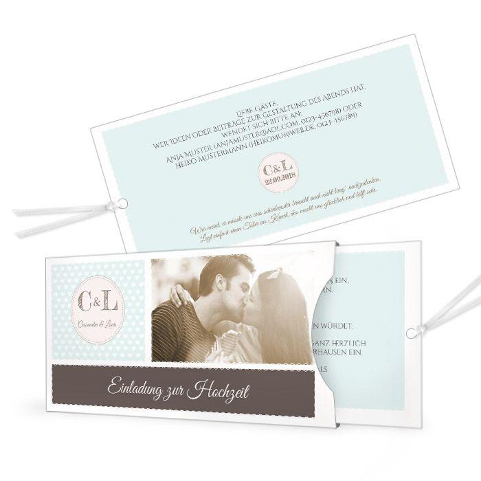 Moderne Einladung zur Hochzeit als Einsteckkarte mit großem Foto in Hellblau - carinokarten