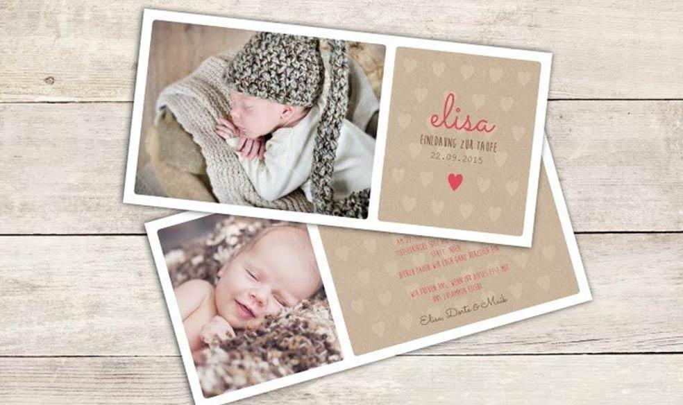 Einladungskarten zur Taufe mit Foto in Kraftpapieroptik gestalten bei carinokarten