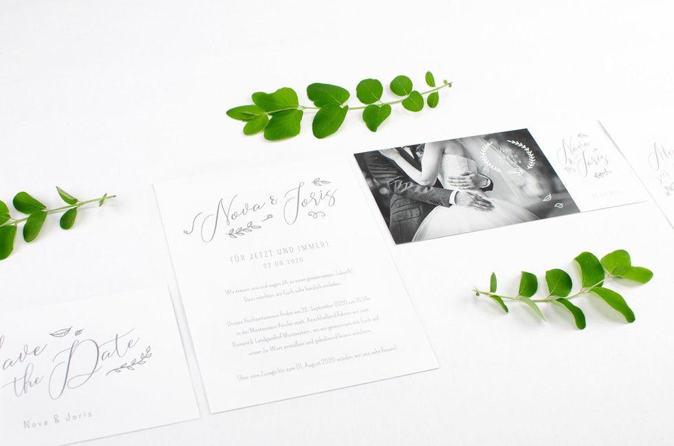 elegante Hochzeitspapeterie mit Kalligraphie von The Little Wedding Corner und carinokarten1