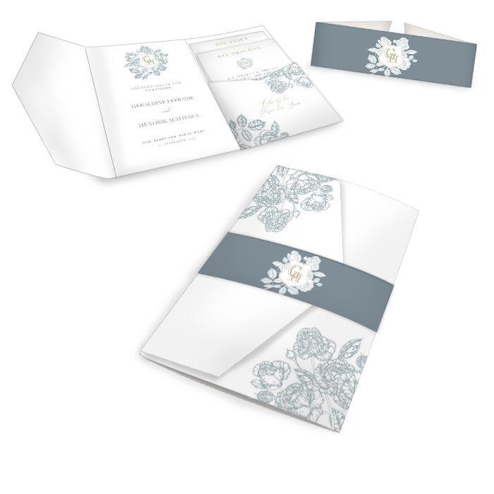 Elegante Hochzeitseinladung mit Monogramm und floralem Rahmen