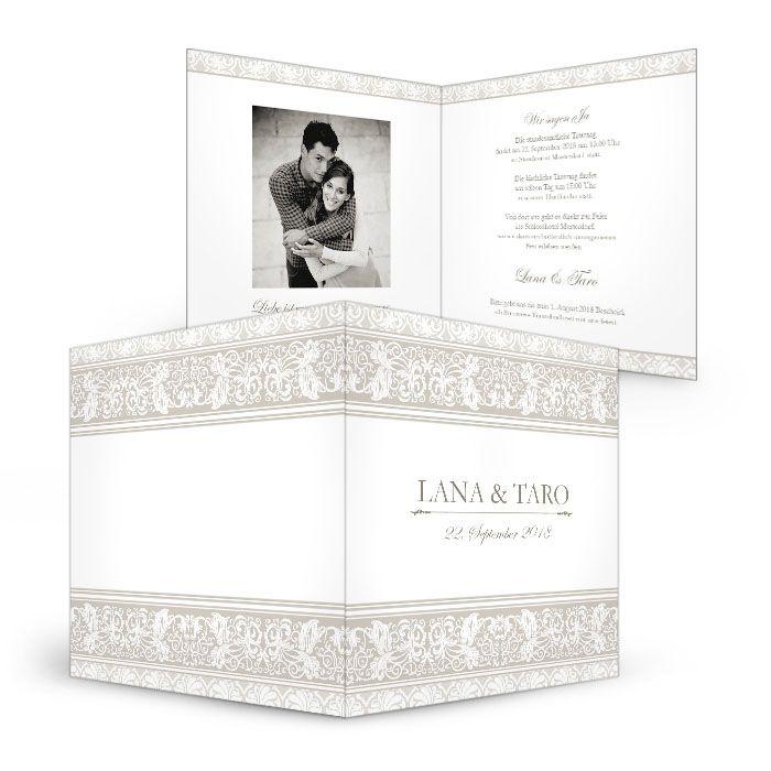 Elegante Einladung zur Hochzeit mit barockem Ornament - carinokarten