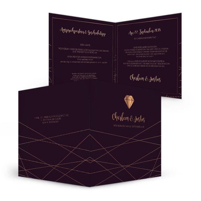 Moderne Hochzeitseinaldung in Aubergine mit goldenen Streifen und Diamant-Motiv - carinokarten
